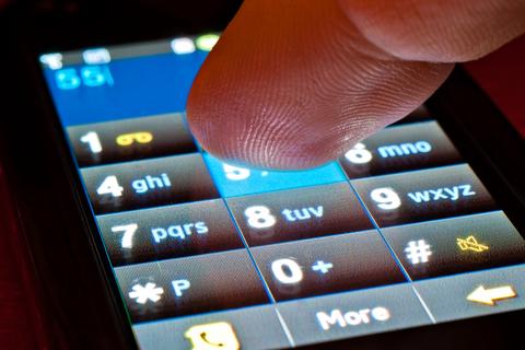 Mobiltelefon med pekskärm